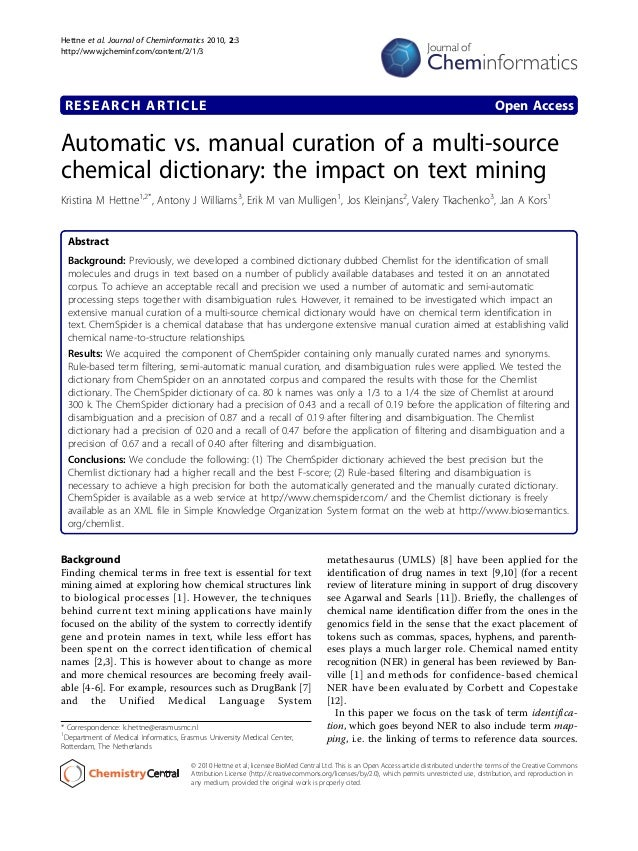 Automatic vs manual curation of a multisource chemical dictionary