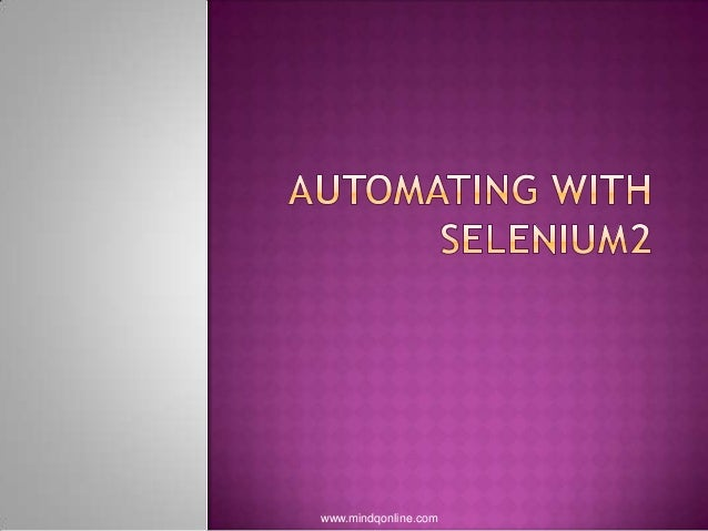 Automating with selenium2
