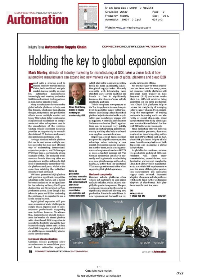 Automation Magazine - Holding the Key to Global Expansion