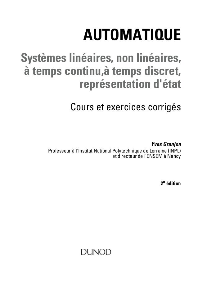 Automatique   systémes linéaires et non linéaires 2