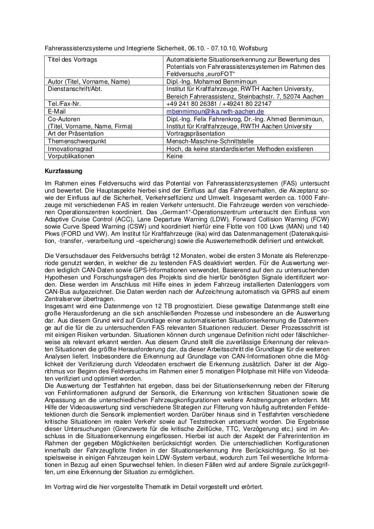 Fahrerassistenzsysteme und Integrierte Sicherheit, 06.10. - 07.10.10, Wolfsburg Titel des Vortrags                        ...