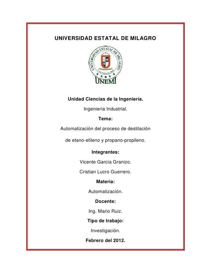 UNIVERSIDAD ESTATAL DE MILAGRO    Unidad Ciencias de la Ingeniería.           Ingeniería Industrial.                  Tema...