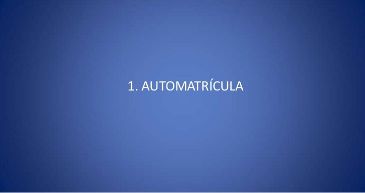 1. AUTOMATRÍCULA<br />