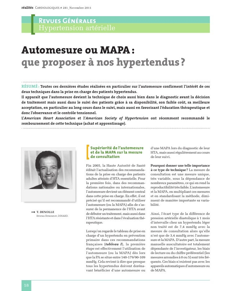 réalités Cardiologiques # 281_Novembre 2011          Revues Générales          Hypertension artérielleAutomesure ou MAPA:...
