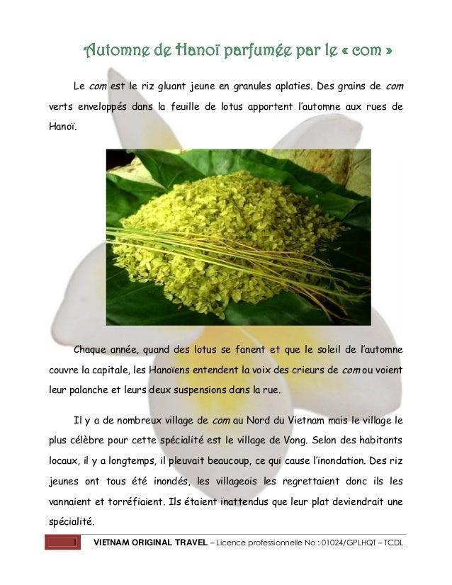 1 VIETNAM ORIGINAL TRAVEL – Licence professionnelle No : 01024/GPLHQT – TCDL Automne de Hanoï parfumée par le « com » Le c...