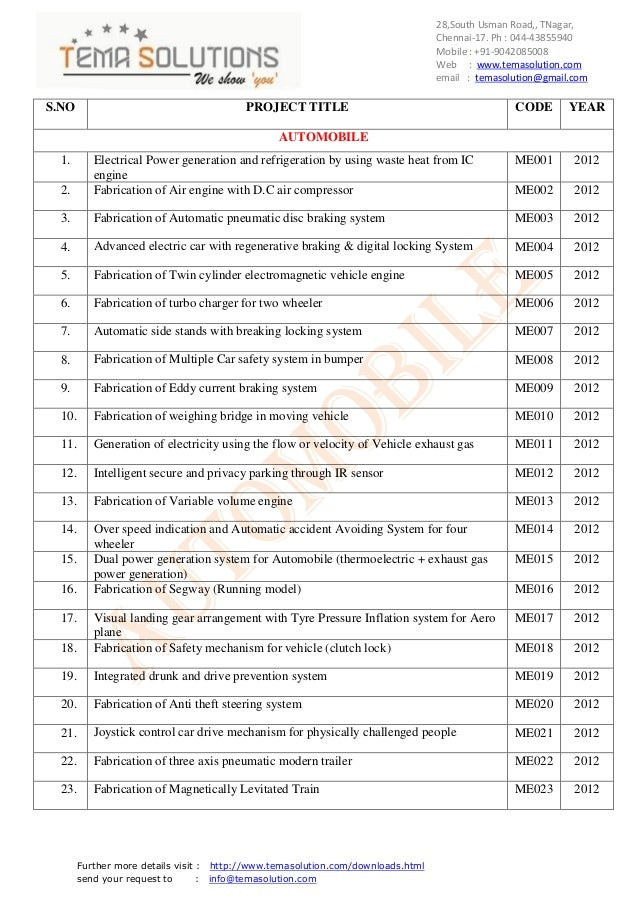 Automobile and hydraullic and pneumatic  titles for 2012
