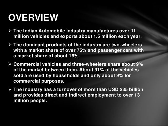 analysis on automobile industry essay Company strategy analysis report on: automobile industry- germany & india executive summary this report represents the various aspects and compares the automobile industry of two different geographical spaces: germany and india.