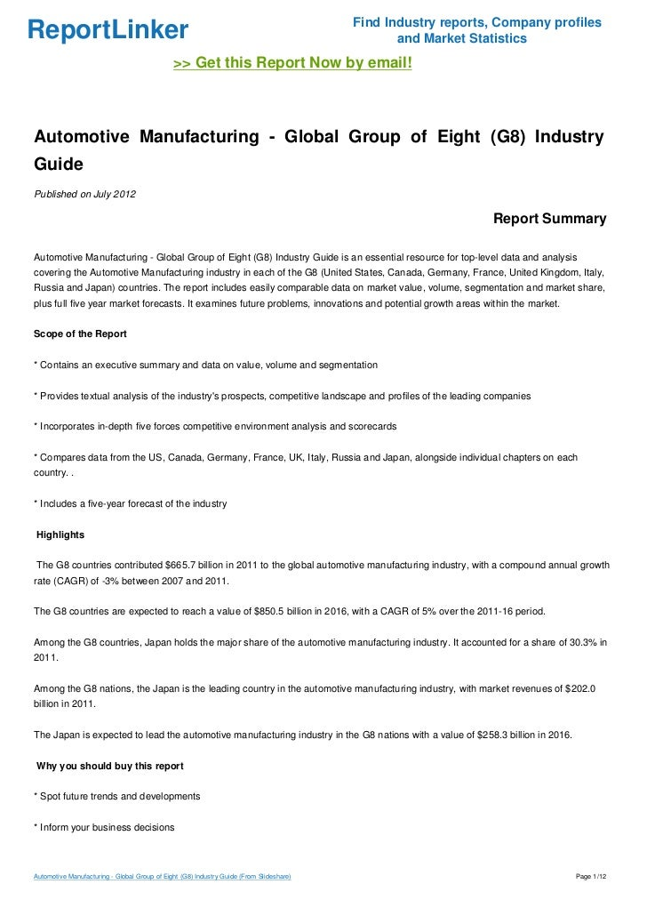 Automotive Manufacturing - Global Group of Eight (G8) Industry Guide