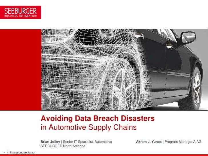 Avoiding Data Breach Disasters                            in Automotive Supply Chains                            Brian Jol...