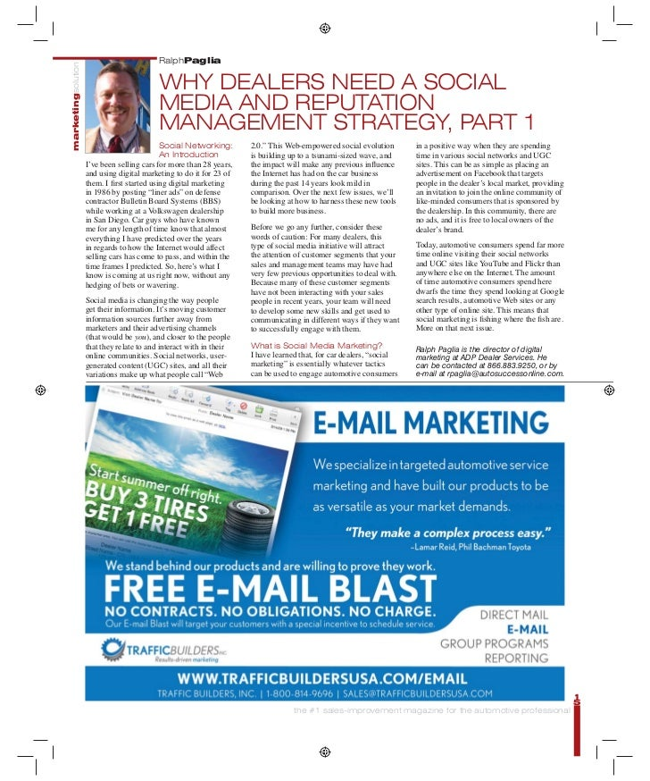 Automotive Social Media Marketing - AutoSuccess Magazine Parts 1, 2 and 3 Published in October, November and December 2009 Issues - Written by Ralph Paglia