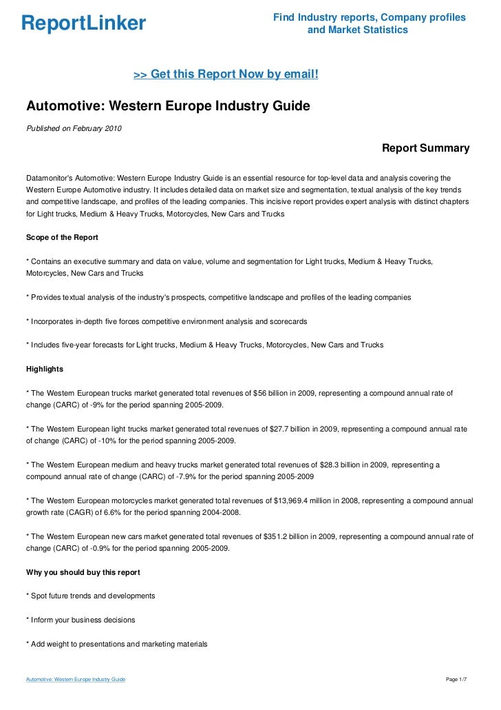 Automotive: Western Europe Industry Guide