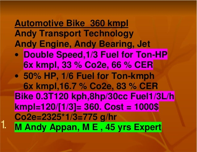 1.Automotive Bike 360 kmplAndy Transport TechnologyAndy Engine, Andy Bearing, Jet• Double Speed,1/3 Fuel for Ton-HP6x kmpl...