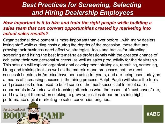 Automotive boot camp 2012 recruit screen hire