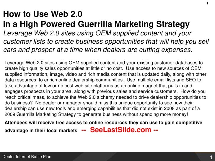 Automotive guerrilla marketing for car dealers using social media and web 2 0