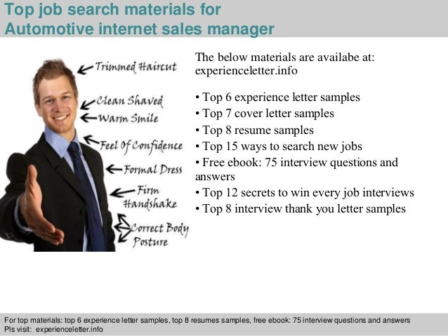 Internet Sales Manager ... 4. Top job search materials for Automotive internet sales manager ...
