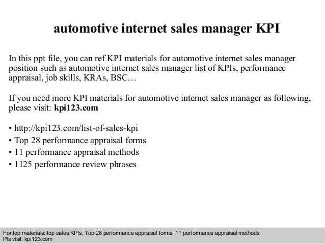 Internet Sales Manager automotive internet sales manager KPI In this ppt file, you can ref KPI materials for ...