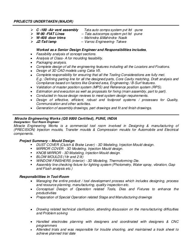 Resume for auto assembly line