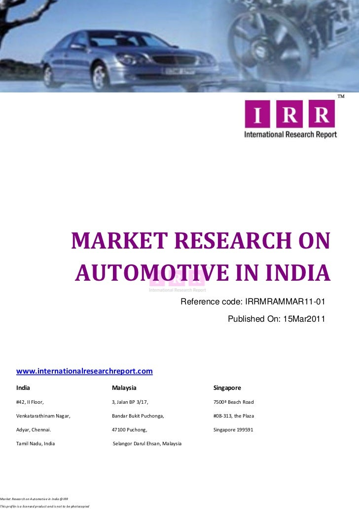 MARKET RESEARCH ON                                                 AUTOMOTIVE IN INDIA                                    ...