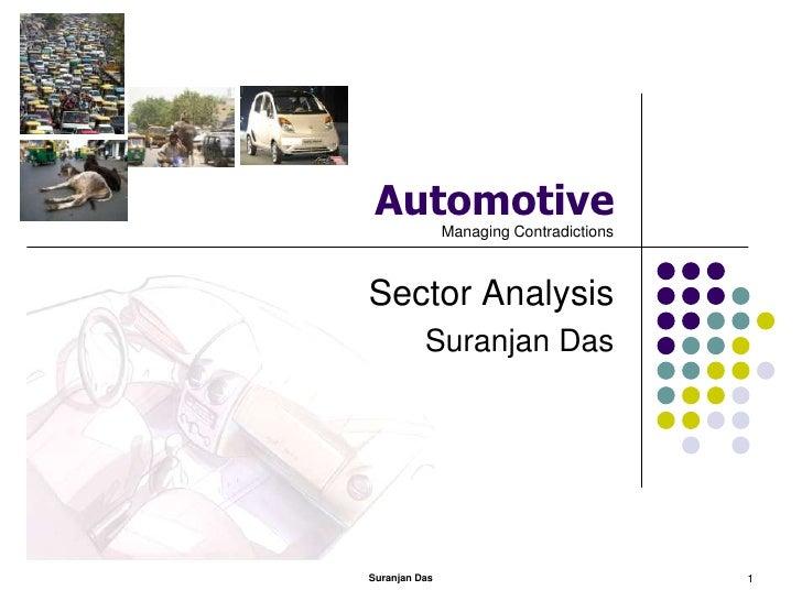 Suranjan Das<br />1<br />Automotive<br />Sector Analysis<br />Suranjan Das<br />Managing Contradictions<br />