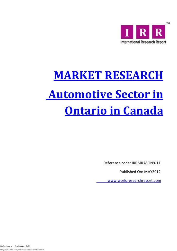 Automotive sector in ontario in canada