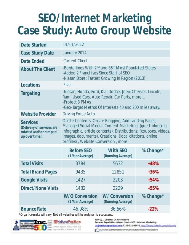 SEO/Internet Marketing  Case Study: Auto Group Website  Date Started 01/01/2012  Case Study Date January 2014  Date Ended ...