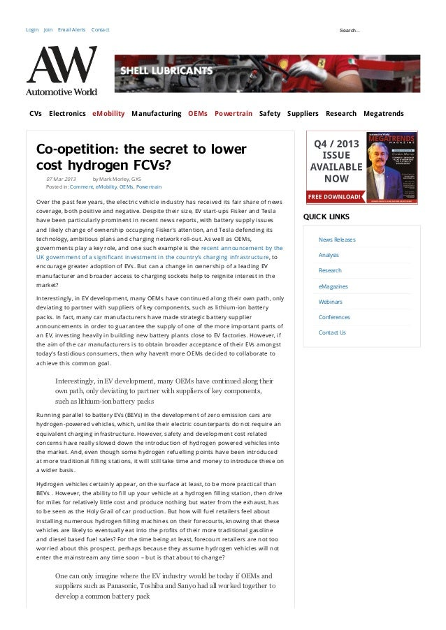 Automotive World Online - Co-opetition - the Secret to Lower Cost Hydrogen FCVs
