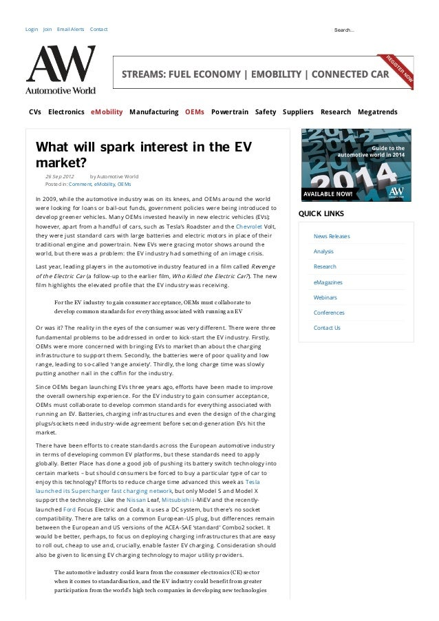 Automotive World Online - What will Spark Interest in the Electric Vehicle Market