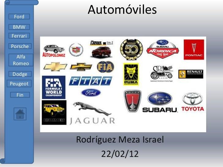 Ford            Automóviles BMWFerrariPorsche  Alfa Romeo DodgePeugeot  Fin          Rodríguez Meza Israel                ...