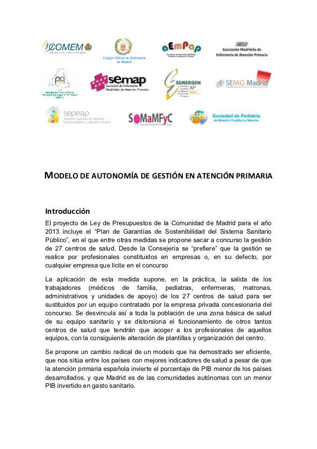 MODELO DE AUTONOMÍA DE GESTIÓN EN ATENCIÓN PRIMARIA Introducción El proyecto de Ley de Presupuestos de ...