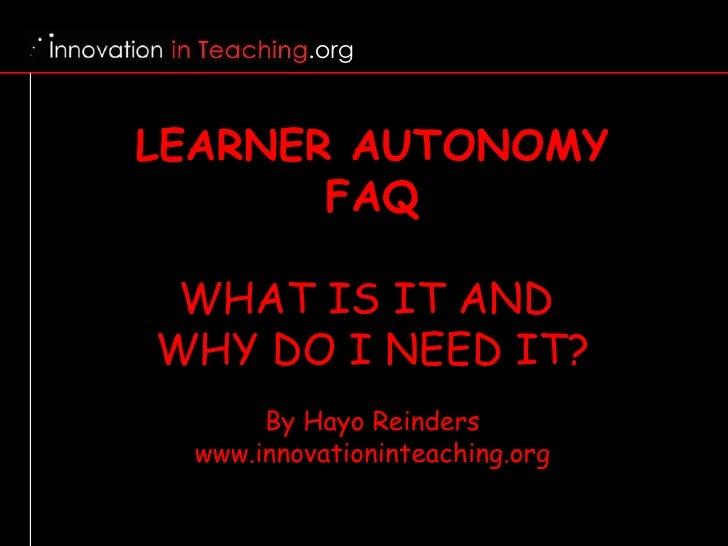 Learner Autonomy FAQ