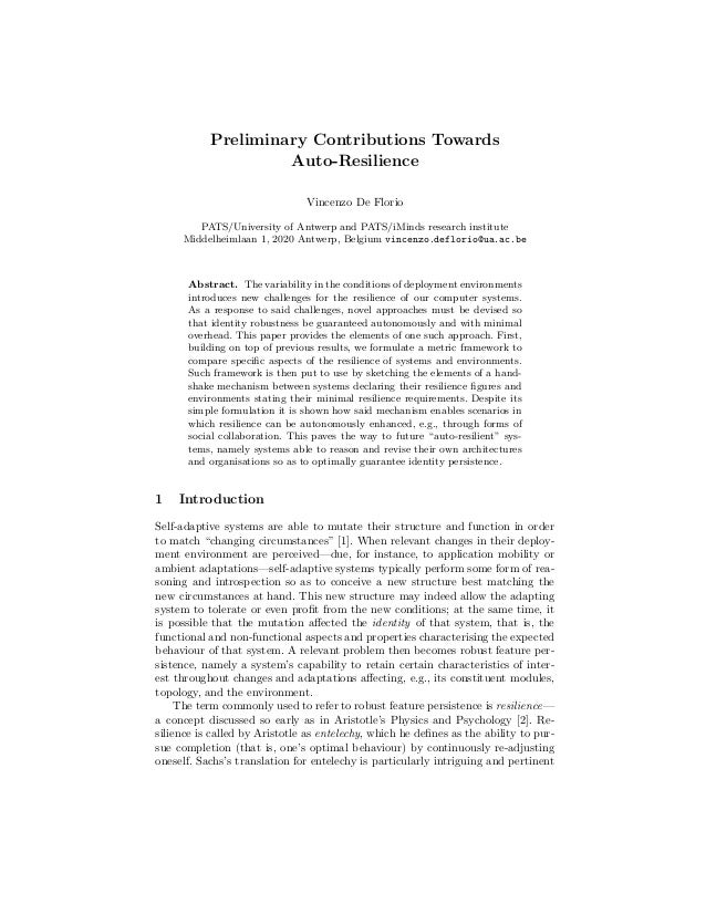 Preliminary Contributions Towards Auto-Resilience Vincenzo De Florio PATS/University of Antwerp and PATS/iMinds research i...