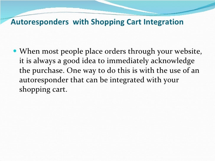 Autoresponder with shopping card