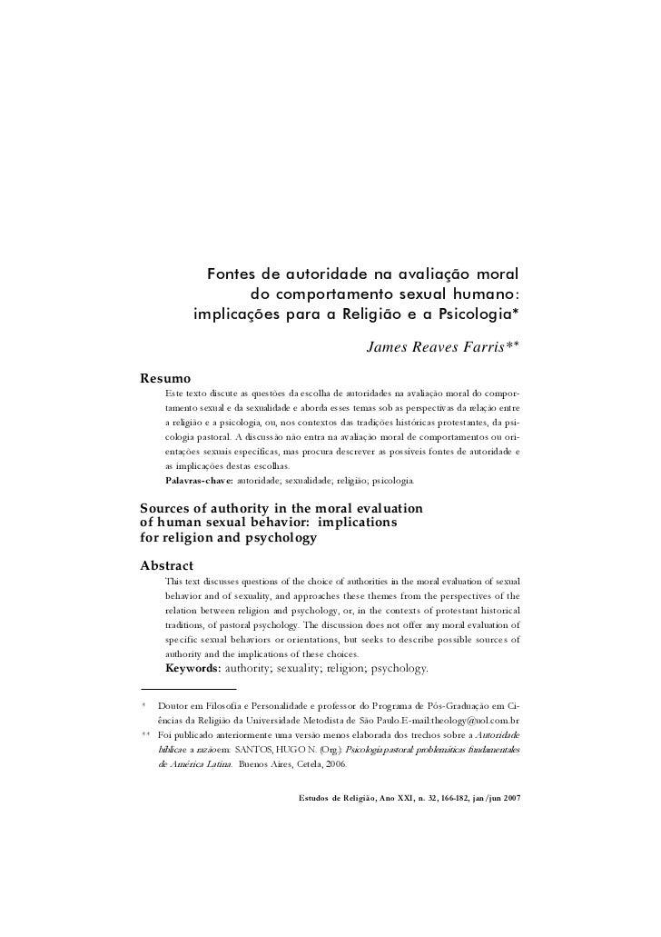166 James Reaves Farris               Fontes de autoridade na avaliação moral                    do comportamento sexual h...