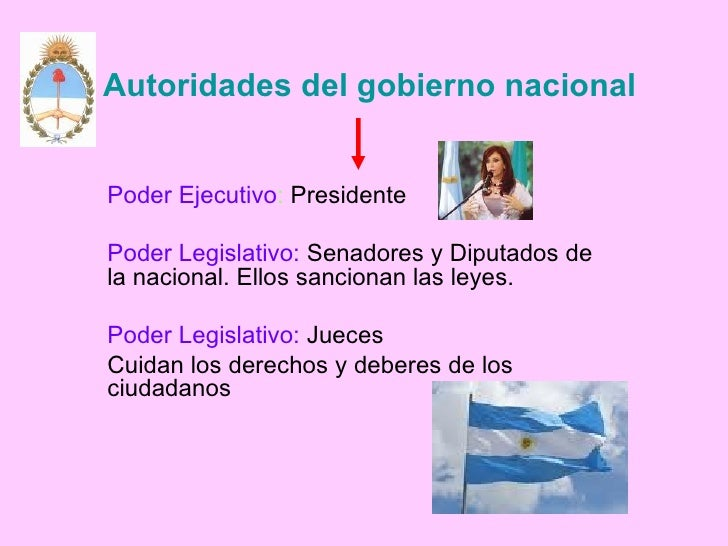 Autoridades del gobierno nacional Poder Ejecutivo :  Presidente Poder Legislativo:  Senadores y Diputados de  la nacional....