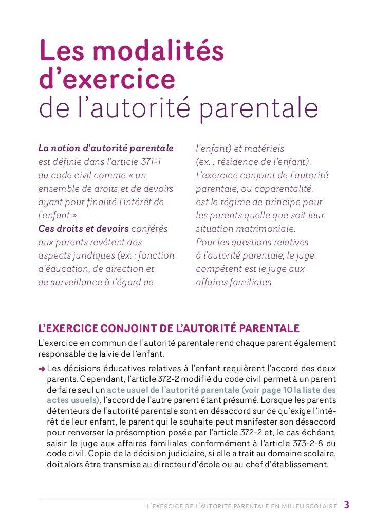 Brochure autorite parentale en milieu scolaire