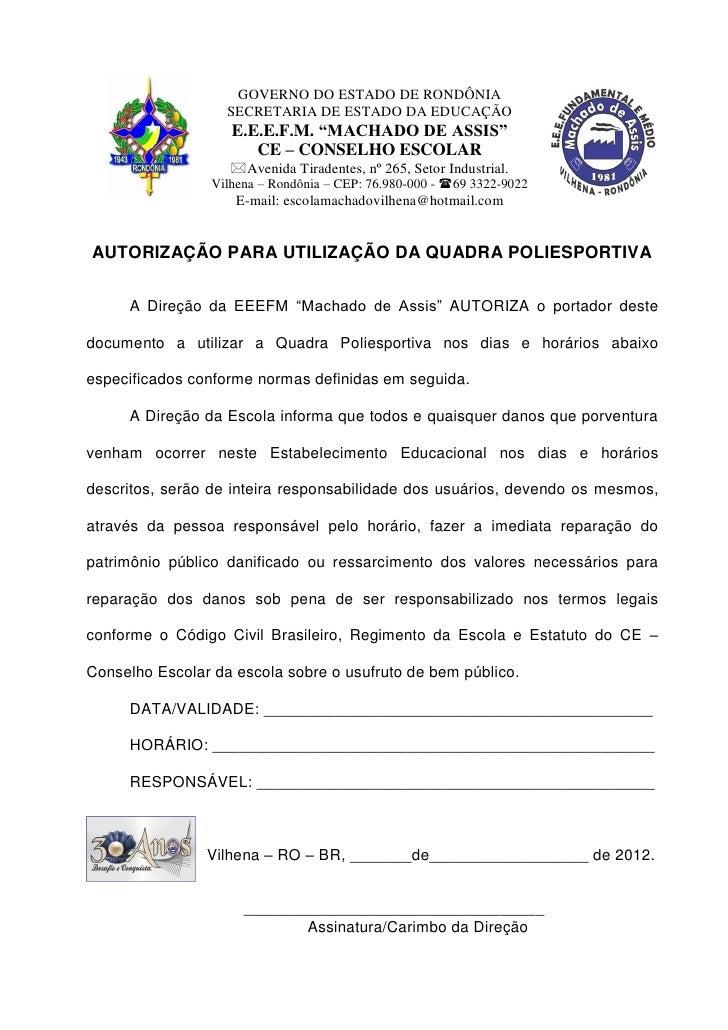 """GOVERNO DO ESTADO DE RONDÔNIA                   SECRETARIA DE ESTADO DA EDUCAÇÃO                    E.E.E.F.M. """"MACHADO DE..."""