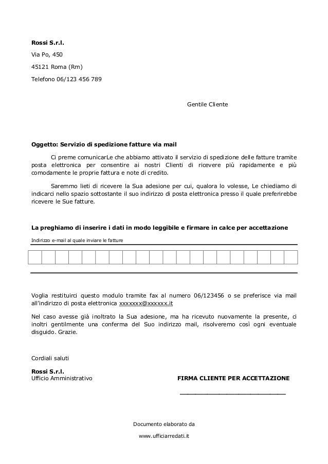 Documento elaborato da www.ufficiarredati.it Rossi S.r.l. Via Po, 450 45121 Roma (Rm) Telefono 06/123 456 789 Gentile Clie...