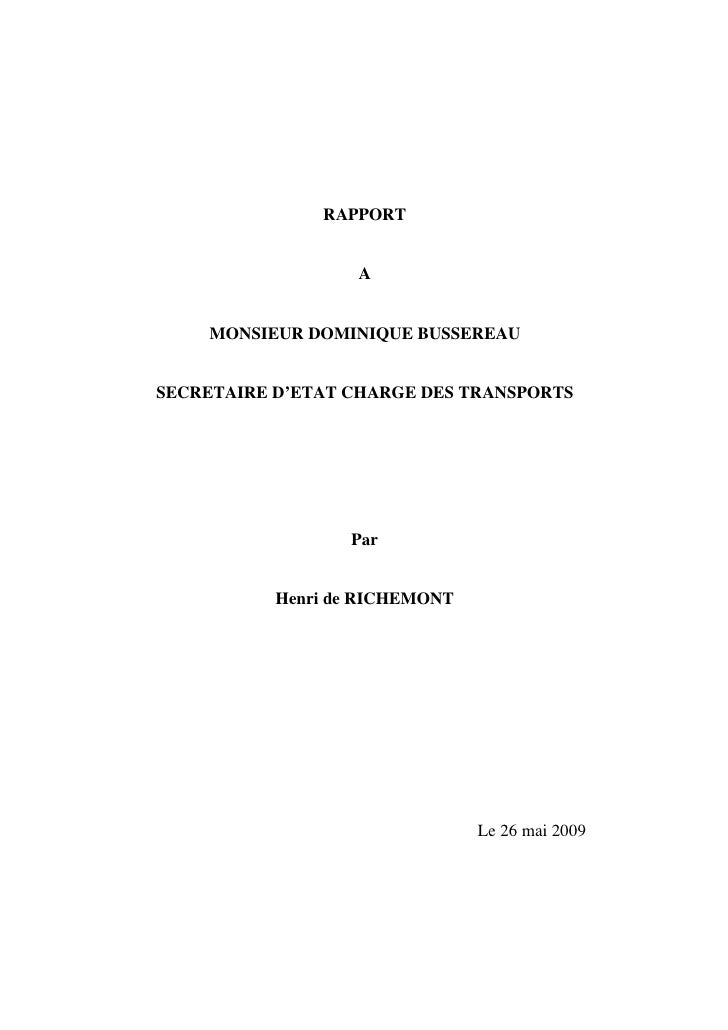 RAPPORT                      A       MONSIEUR DOMINIQUE BUSSEREAU   SECRETAIRE D'ETAT CHARGE DES TRANSPORTS               ...