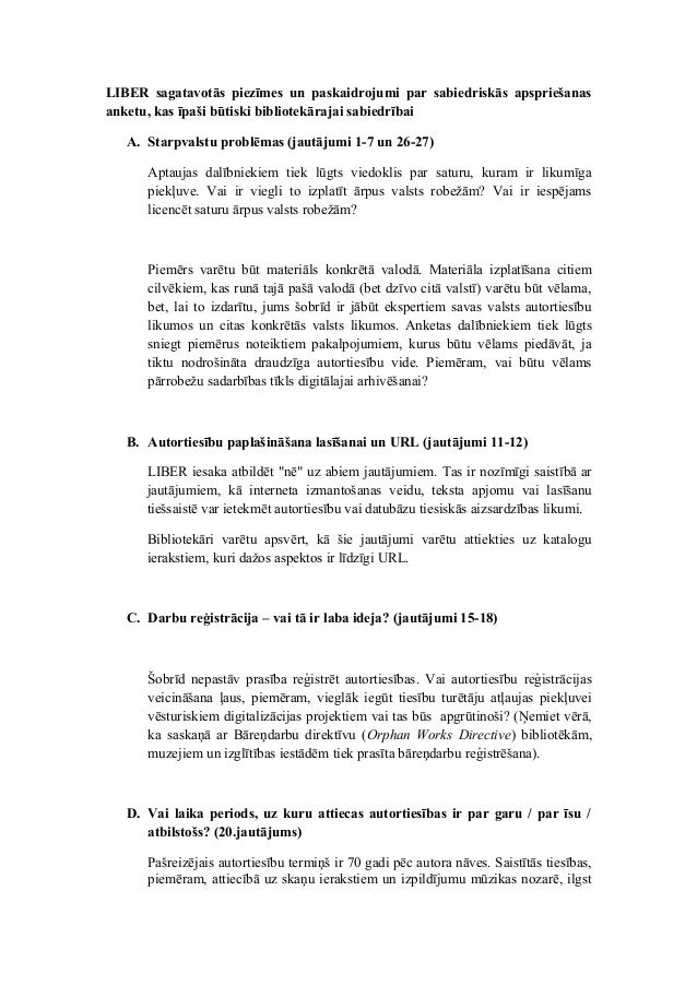 Eiropas akadēmisko bibliotēku asociācija LIBER izstrādāto vadlīniju tulkojums latviešu valodā (sabiedriskajā apspriešanā par autortiesību regulējuma pārskatīšanu Eiropas Savienībā)