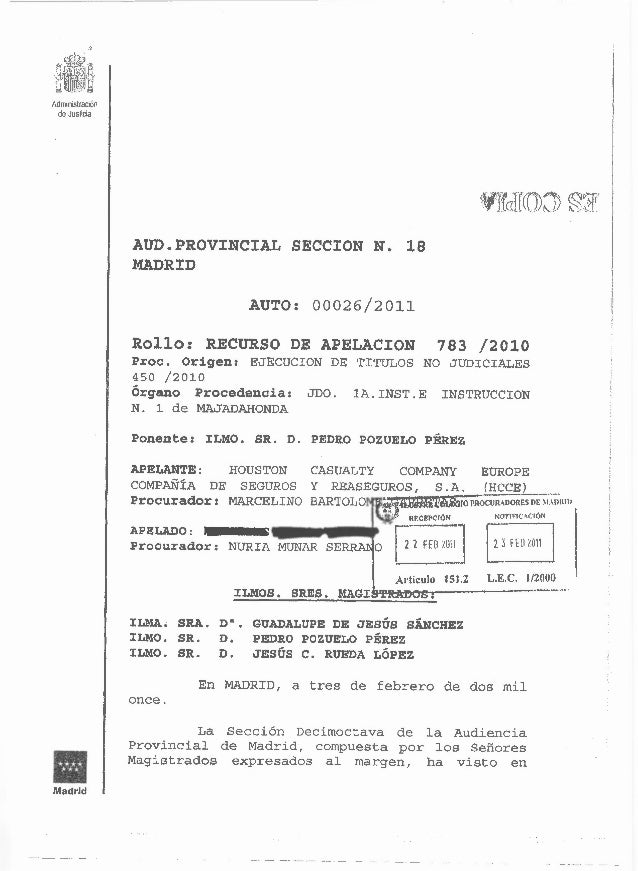 """""""Adrniilstración de Justicia                  AUD.PROVINCIAL                SECCION N. 18                  MADRID         ..."""