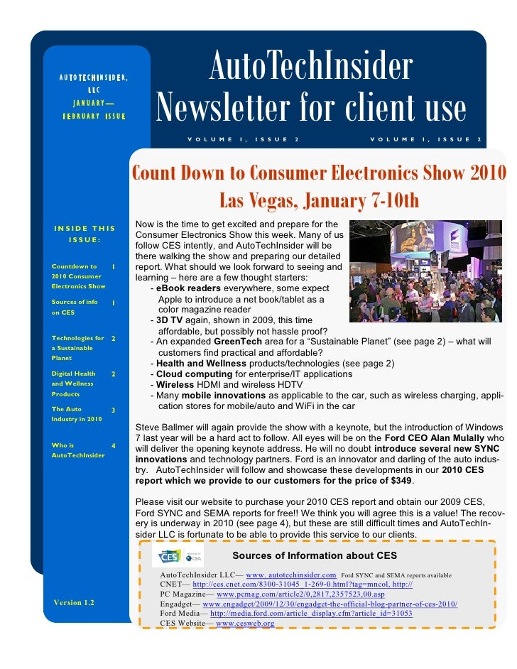 AUTOTECHINSIDER,             AutoTechInsider                             Newsletter for client use            LLC         ...