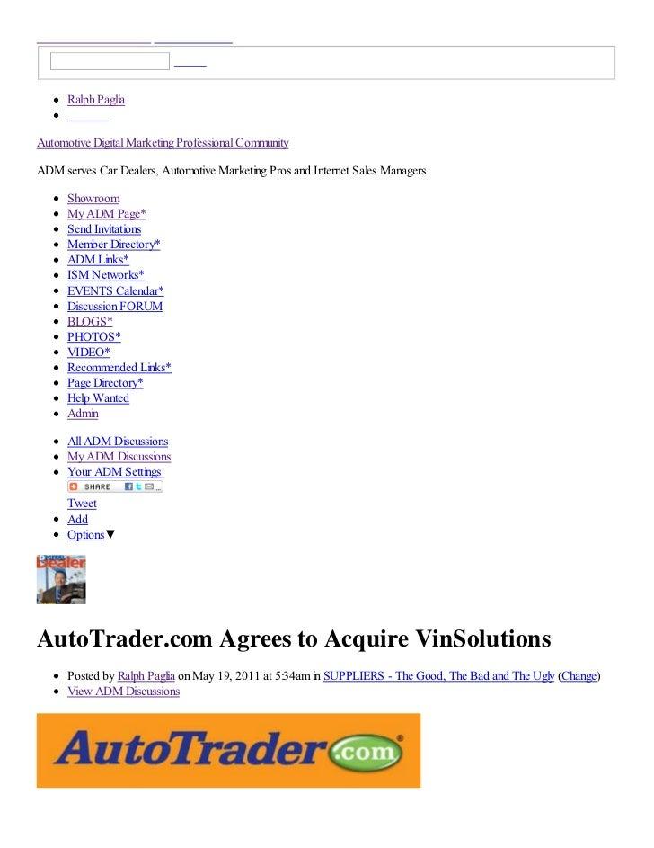 AutoTrader Acquires VinSolutions