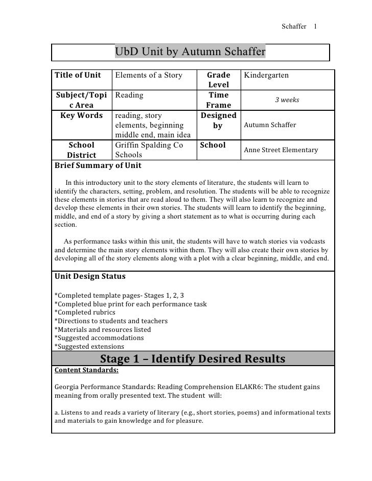 Schaffer   1                     UbD Unit by Autumn SchafferTitle of Unit        Elements of a Story            Grade   Ki...