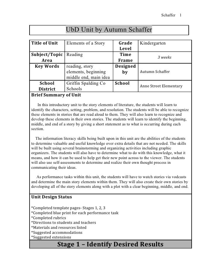 Schaffer   1                     UbD Unit by Autumn SchafferTitle of Unit         Elements of a Story             Grade   ...