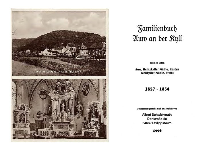 Auw  An Der Kyll Family History Book 1657 1854