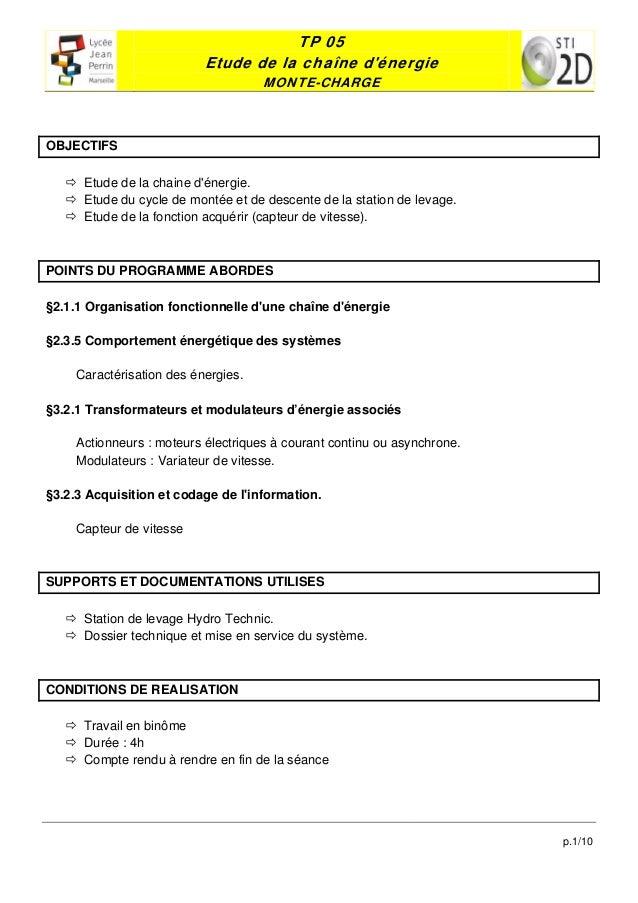 TP 05                           Etude de la chaîne dénergie                                    MONTE-CHARGEOBJECTIFS    ...
