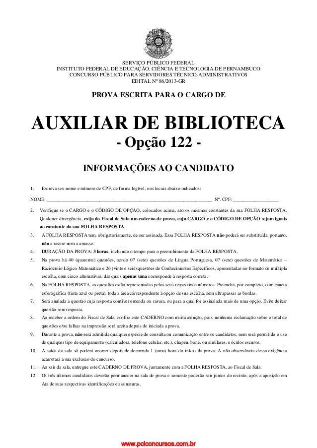 SERVIÇO PÚBLICO FEDERAL INSTITUTO FEDERAL DE EDUCAÇÃO, CIÊNCIA E TECNOLOGIA DE PERNAMBUCO CONCURSO PÚBLICO PARA SERVIDORES...