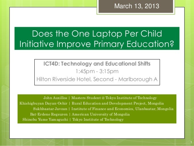 Does the One Laptop Per Child Initiative Improve Primary Education?