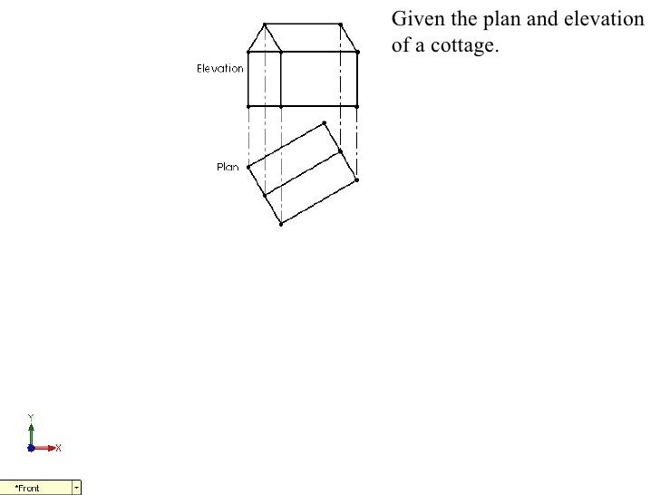 Given the plan and elevationof a cottage.
