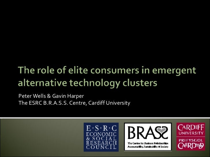 The role of elite consumers in emergent alternative technology clusters